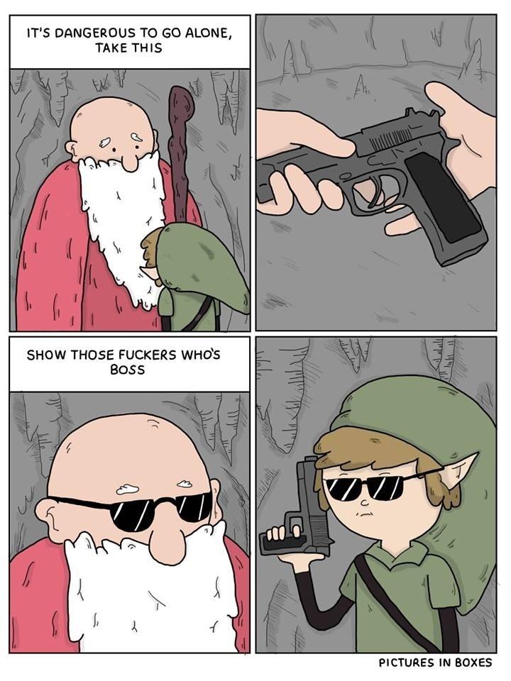 Il est dangereux d'aller dehors prend se pistolet