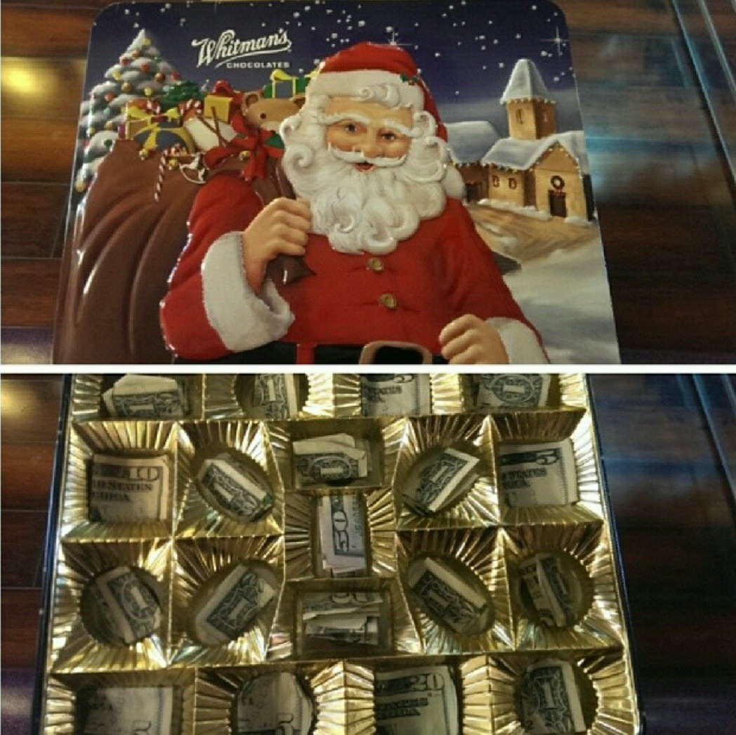 Fun Christmas gift idea for money... Replace chocolate with money ...