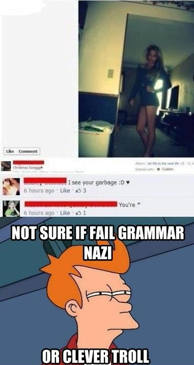 Downvote the people who make grammar mistakes in the comments........for fun