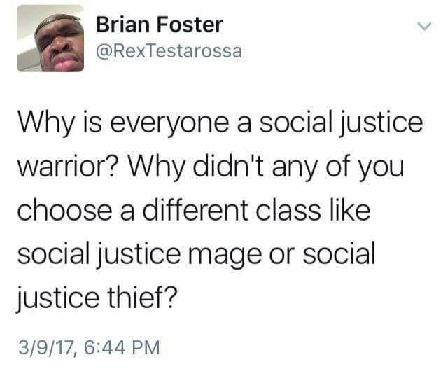 I'm a social justice rogue.