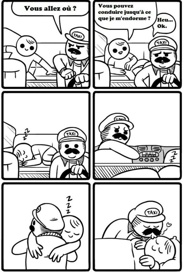 Mario, le chauffeur de taxi au grand coeur.                                  Au grand coeur. C'est tout. Pas le reste. Non. Stoppez cet esprit malsain.