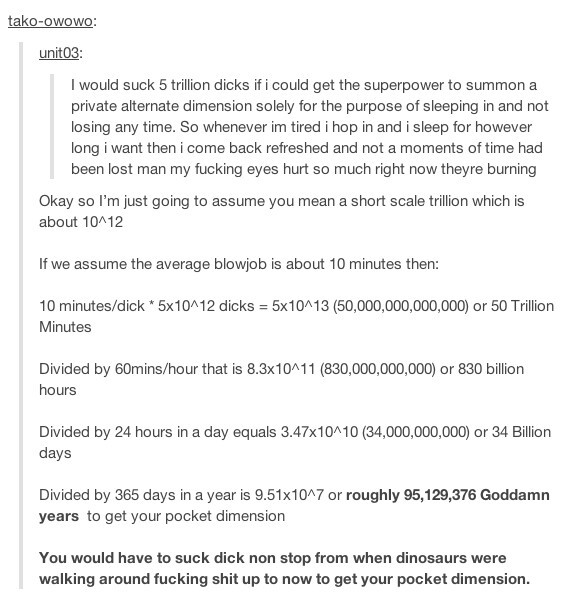 How long it would take to suck 5 trillion dicks - Meme by soydolphin :)  Memedroid