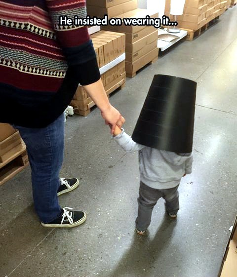 He feels safe with a bucket in his head - meme