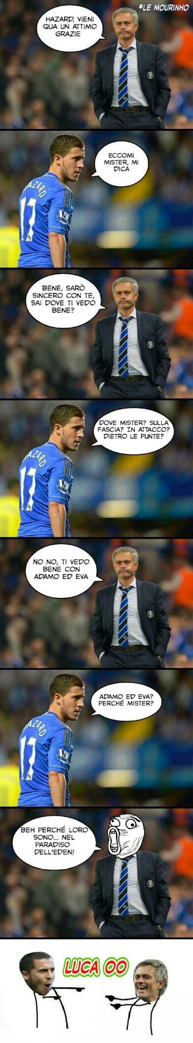 Spiegazione, il calciatore si chiama EDEN Hazard, EDEN è il suo nome, spero vi piaccia :) - meme