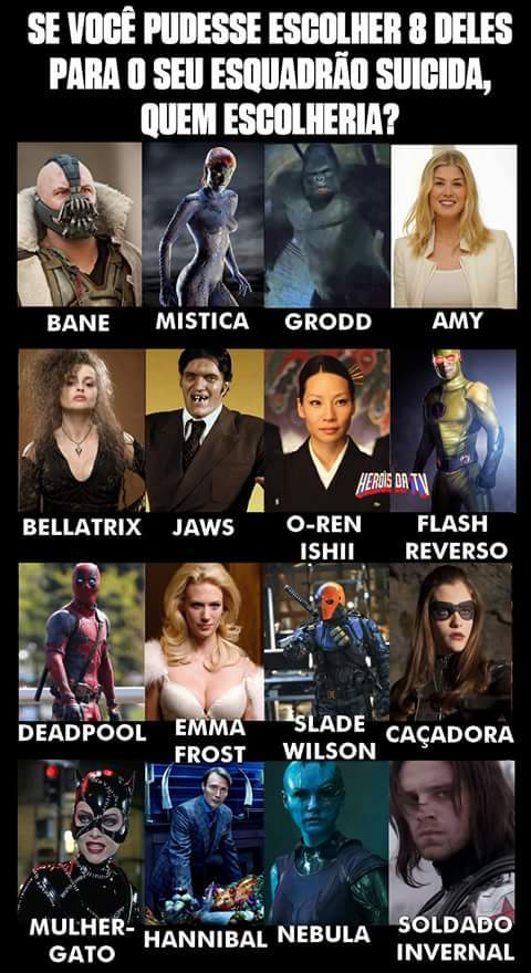 Bane, Mistica, Jaws, Flash Reverso, Deadpool, Emma Frost, Slade, Hannibal - meme
