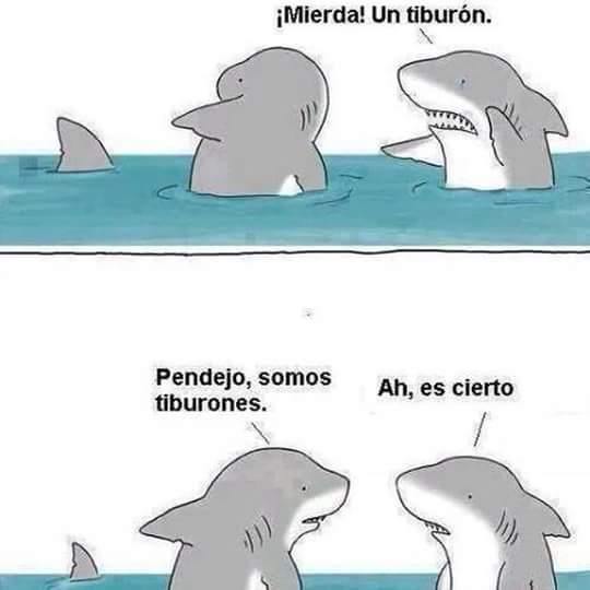 Esos tiburones son un desmadrep - meme