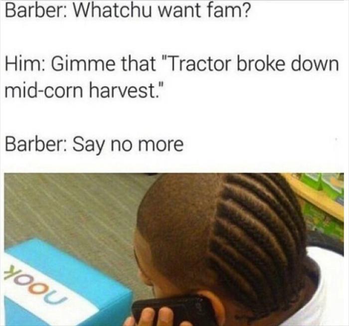 Whoops sorry my tractor broke XD - meme
