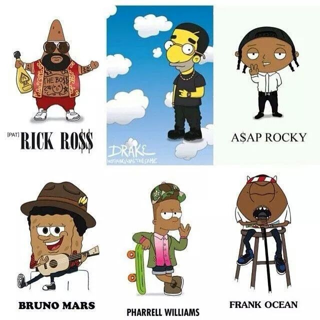 Célébrités en dessins animés - meme