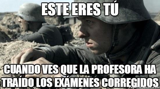Batalla contra los examenes del semestre - meme