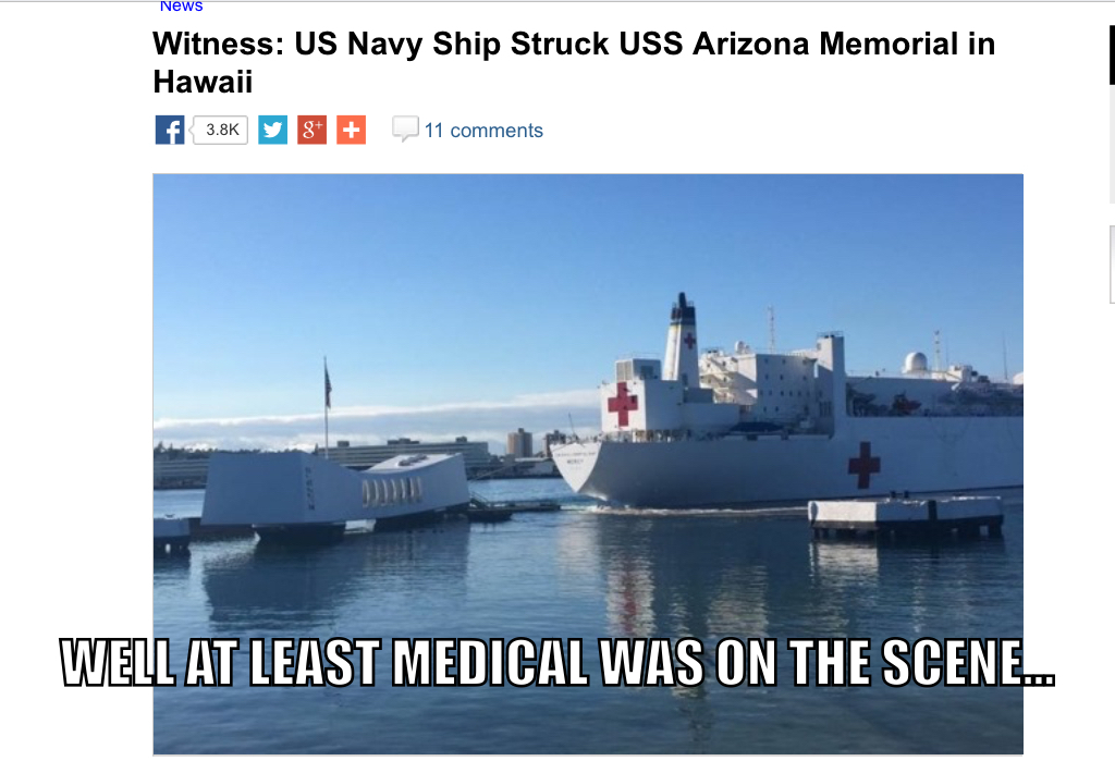 Hopefully the Arizona wasn't damaged... - meme