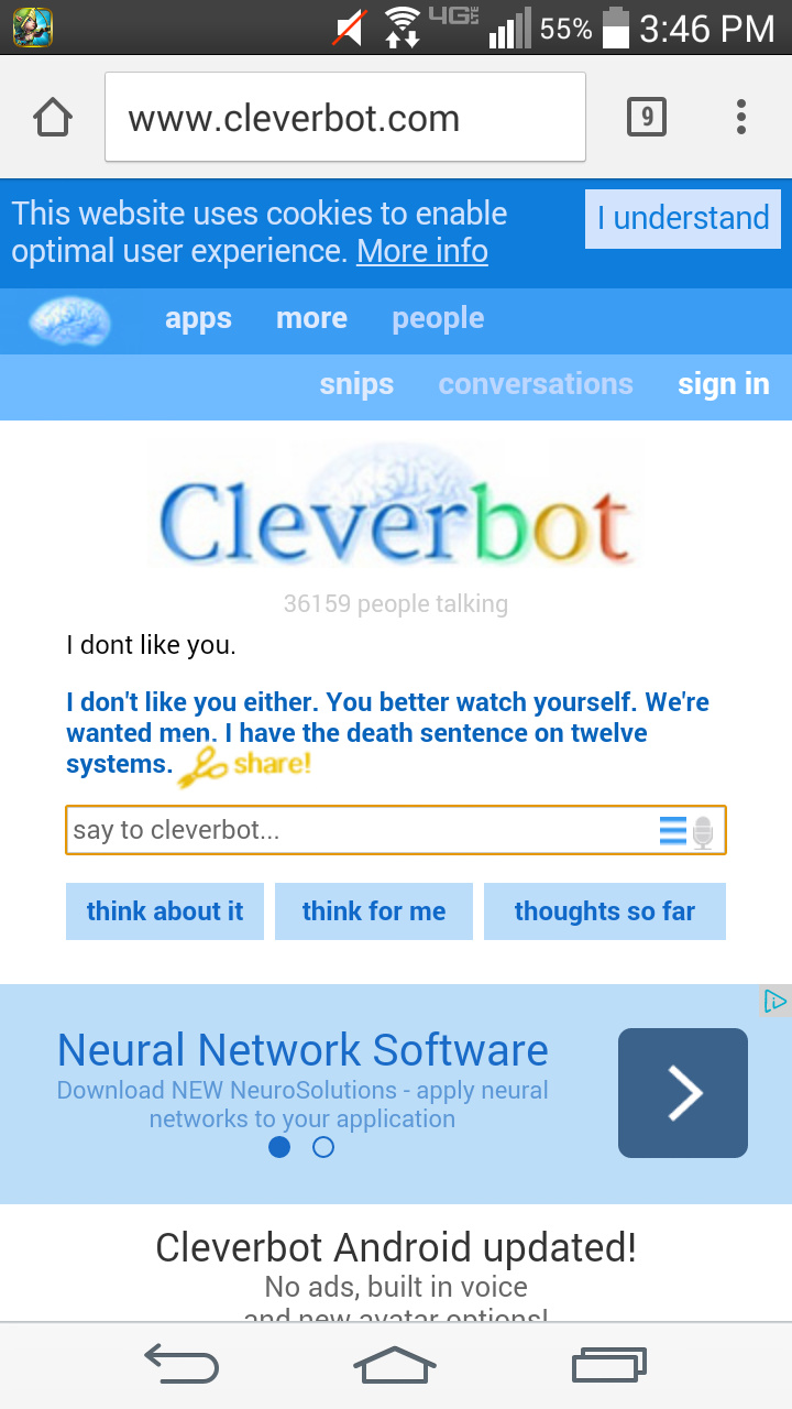 I don't know what the rule about cleverbot is, is it allowed, or no, just like tumblr? - meme
