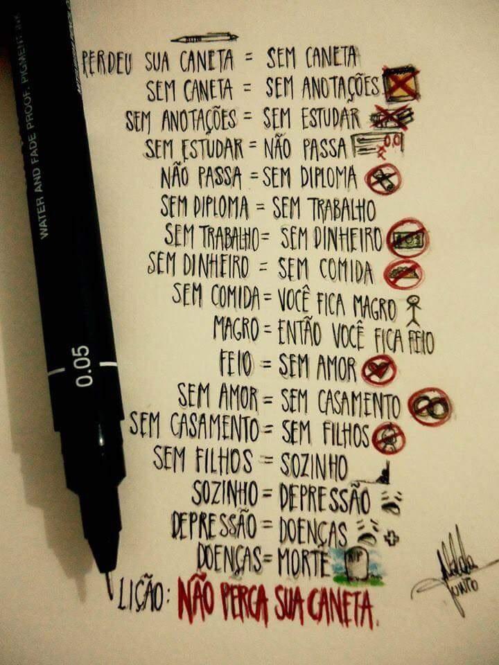 nunca perca uma caneta crianças - meme