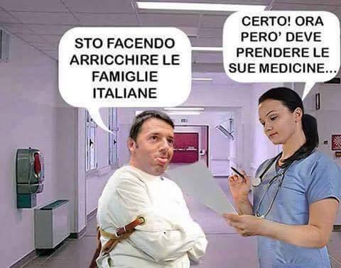 Renzi e le sue promesse da manicomio - meme