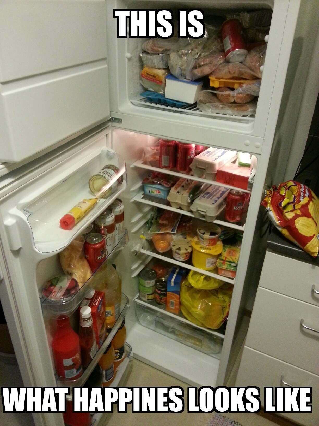 Picture of my fridge. Christmas 2013. - meme