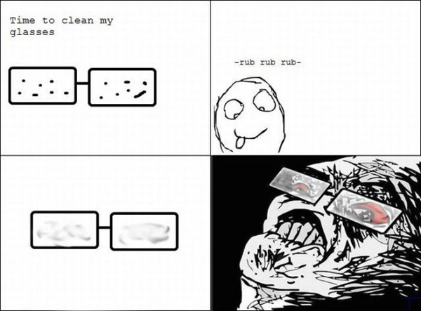 Cons of wearing glasses - meme