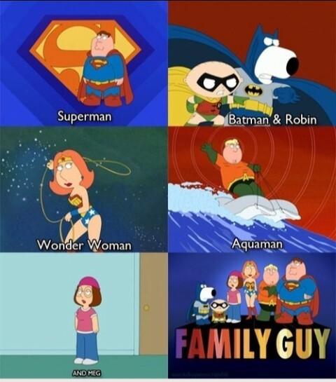 La familia de la justicia y meg - meme