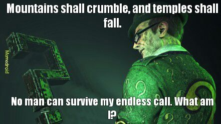 There's an imposter riddler floating around here somewhere. Let's try to make him go away, shall we? - meme