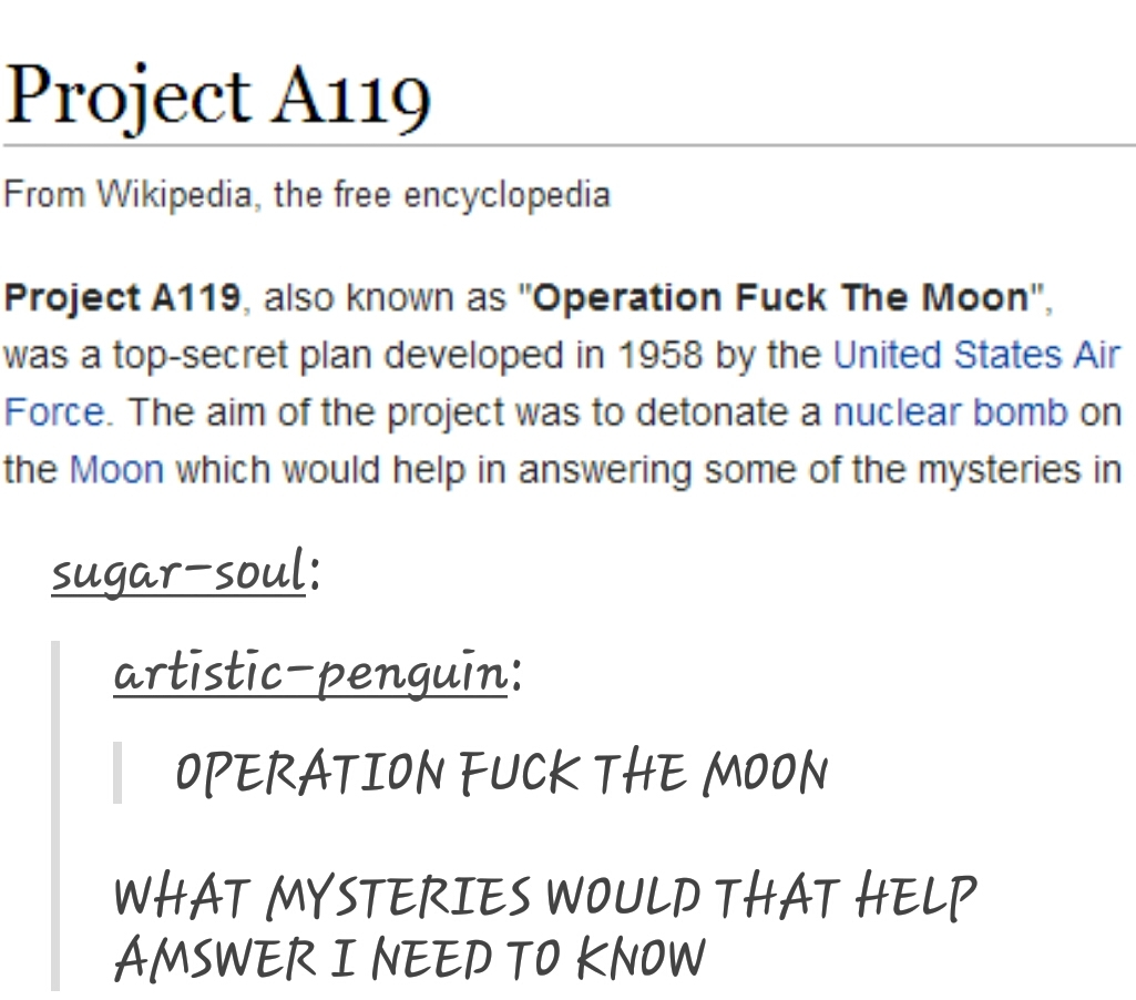 I say we bring back Operation fuck the moon but in a more literal term - meme