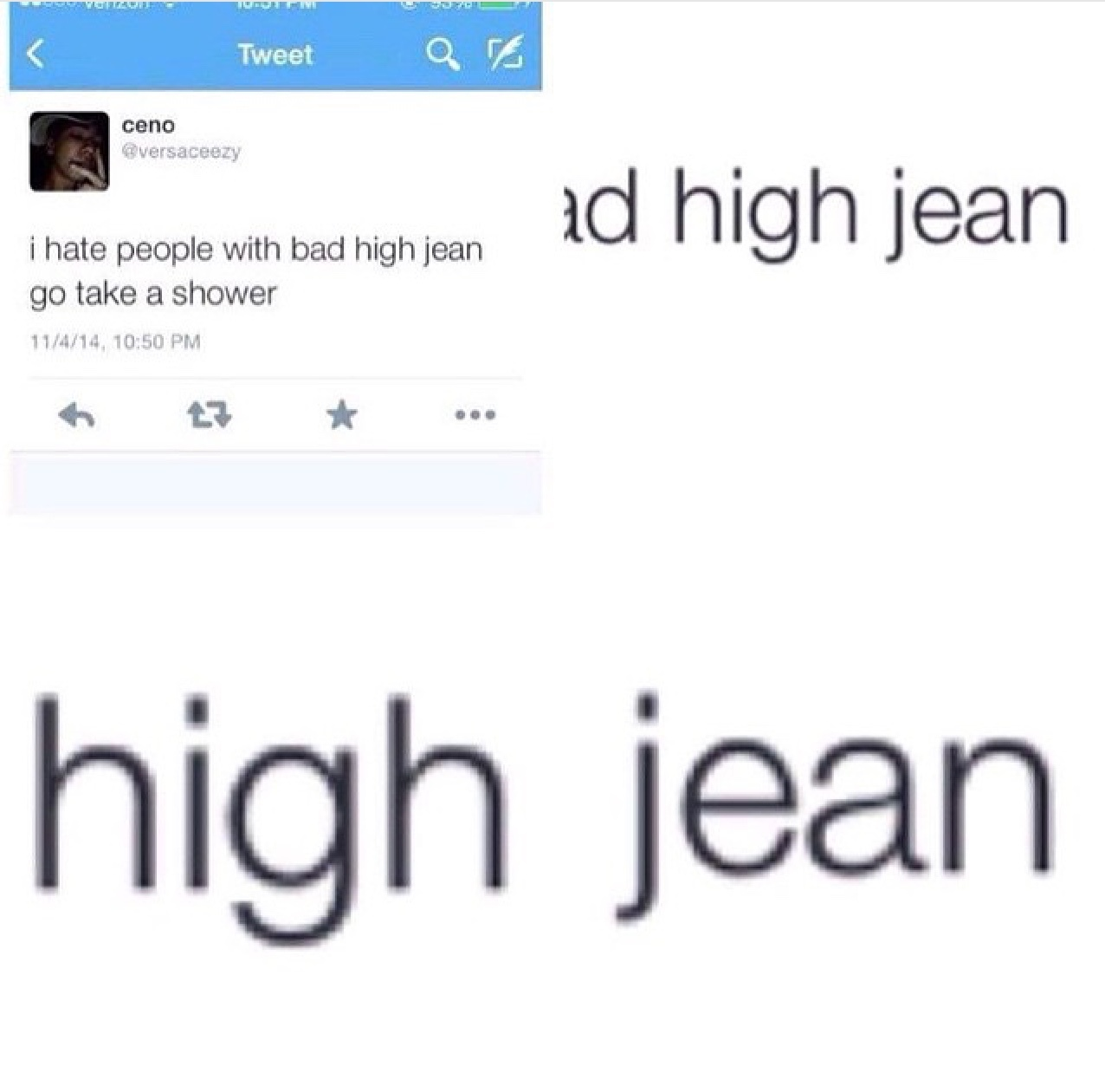 4th comment has bad high jean - meme