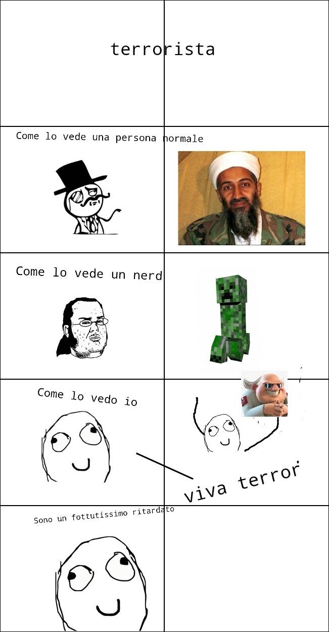 Terrorista è un tifoso di terror come un milanista tifa milan(non tifo milan e non sapevo che squadra prendere:)) - meme