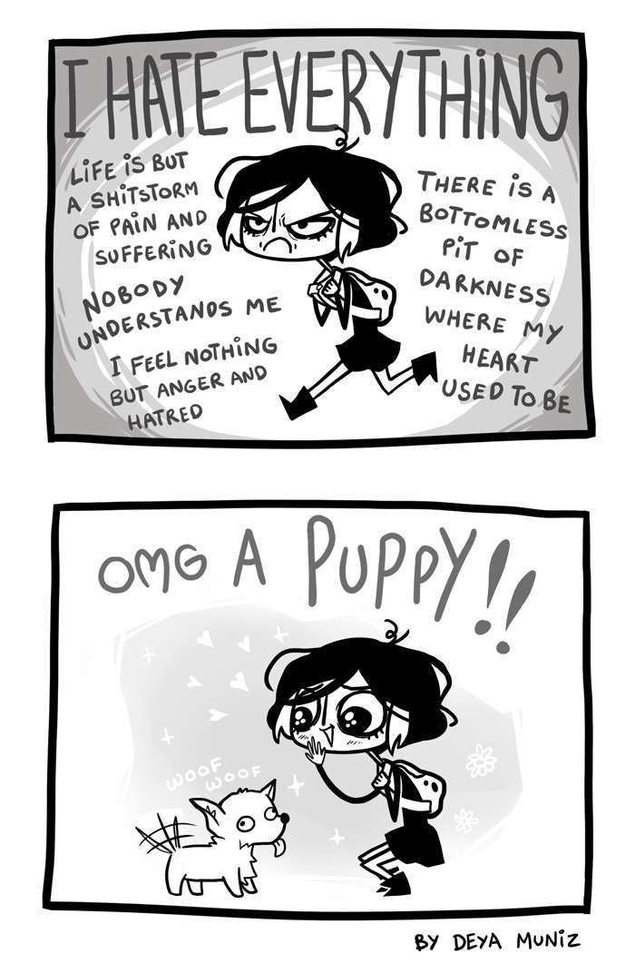 emo girl can't contain herself around puppies - meme