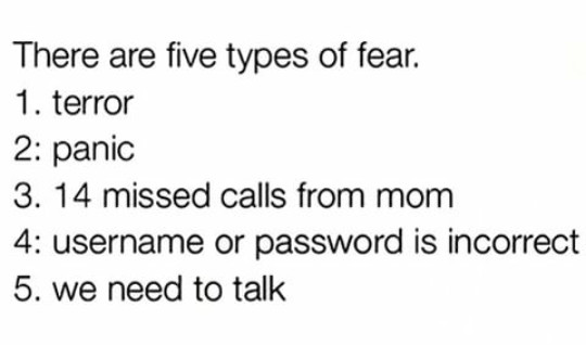 types of fear... - meme