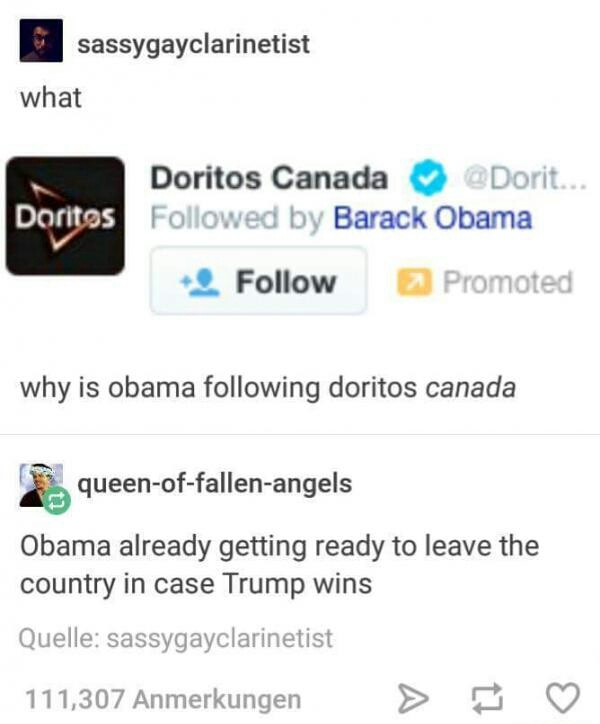Obama thinking about the doritos in Canada - meme