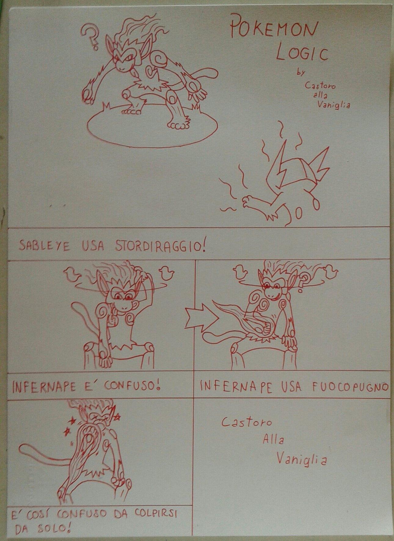 Pokemon logic: anche se uno è confuso, bisogna essere deficienti per prendersi a pugni da soli, eppure mel maggico mondo dei pokemon succede! - meme