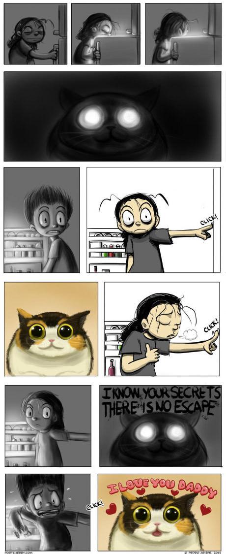 El terror de tener gatos - meme
