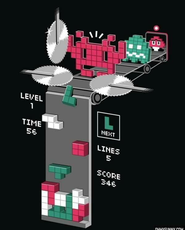 La triste realidad del tetris - meme