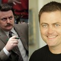 A rare foto of Nick offerman without mustache