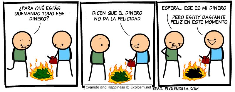 El dinero quemado da felicidad jajaja - meme
