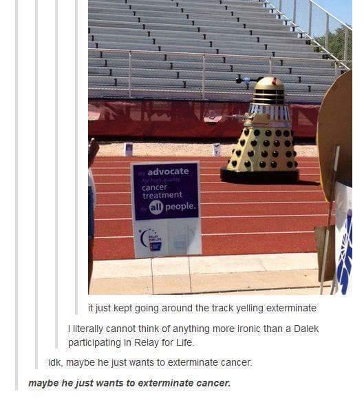 Title wants a Dalek suit thing - meme