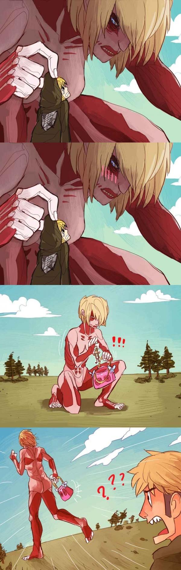 Si le titan féminin aurait prit Armin...dans son sac de Paris - meme