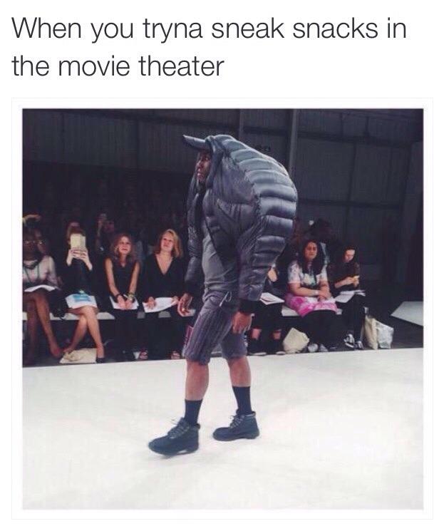 Why I always take my big bag to the movies - meme