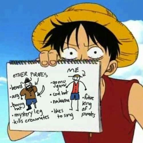 Luffy comparing himself to other pirates - meme
