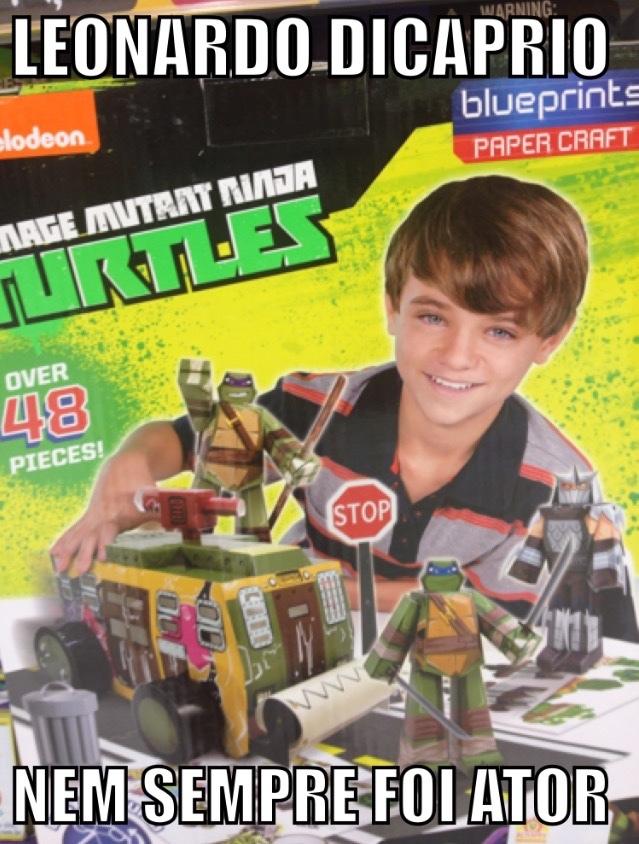 leonardo dicaprio fazendo comercial das tartarugas ninjas ¯\_(ツ)_/¯ - meme