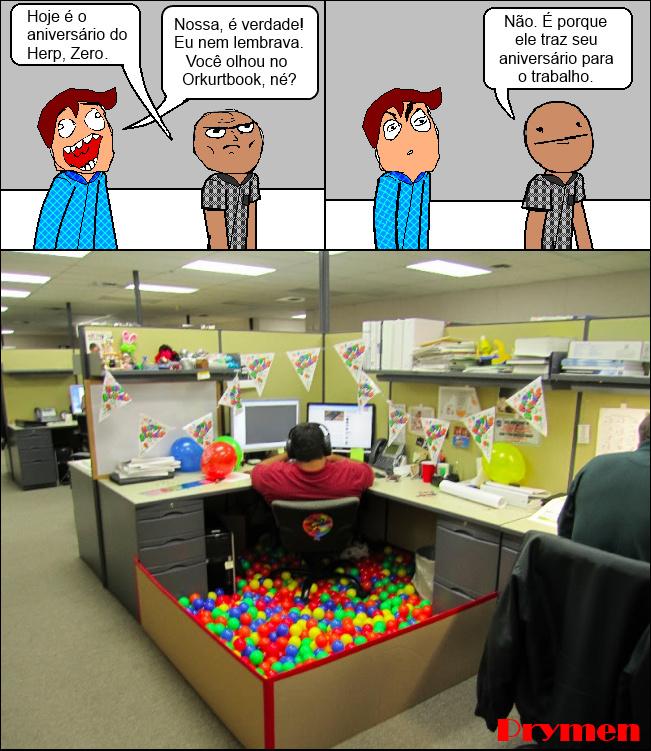 Aniversário no trabalho - meme