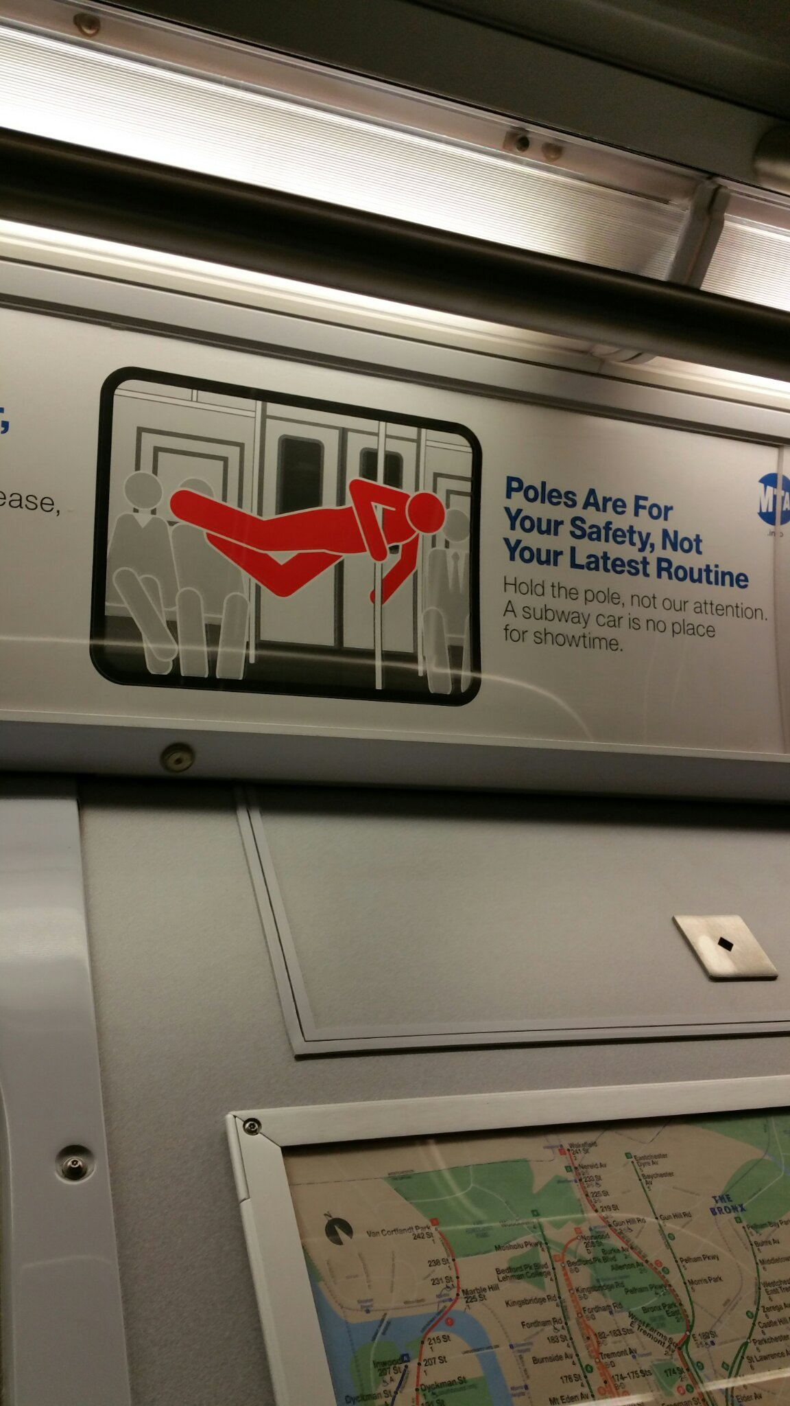 No pole dancing in NYC subway cars - meme