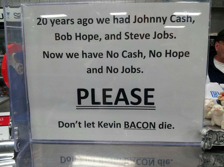 Please save the bacon - meme