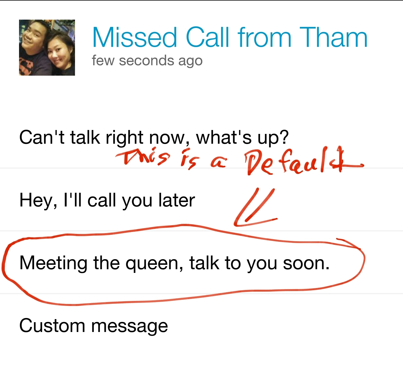 Default missed call texts - meme