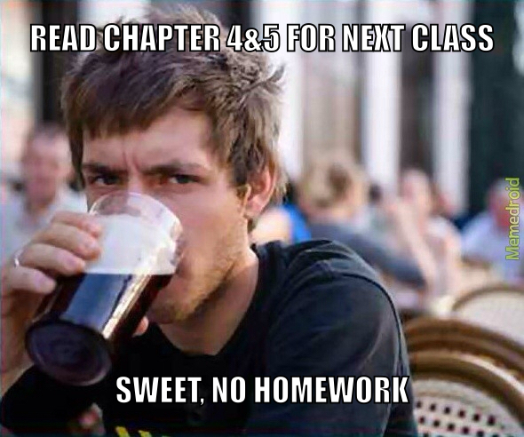 Assigned readings, not even once - meme