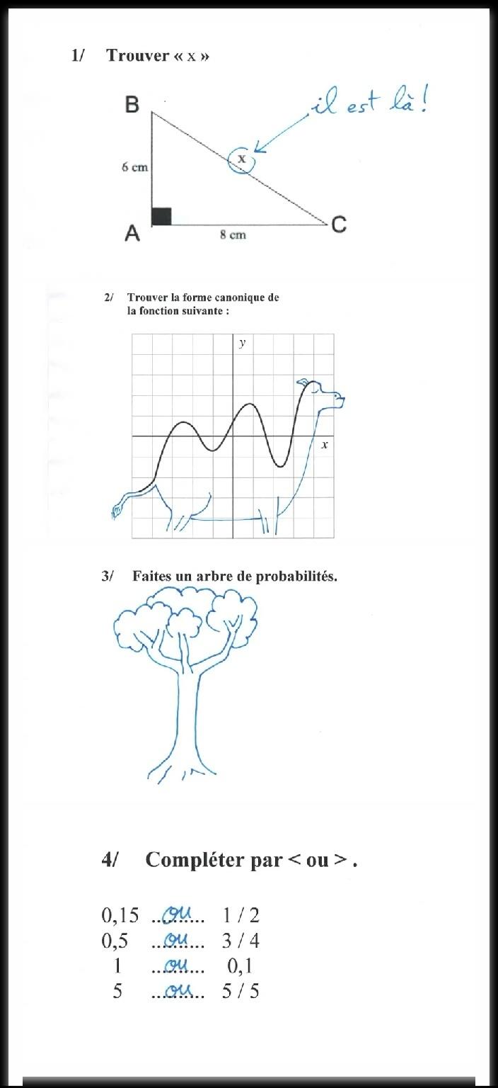 Mon contrôle de maths - meme
