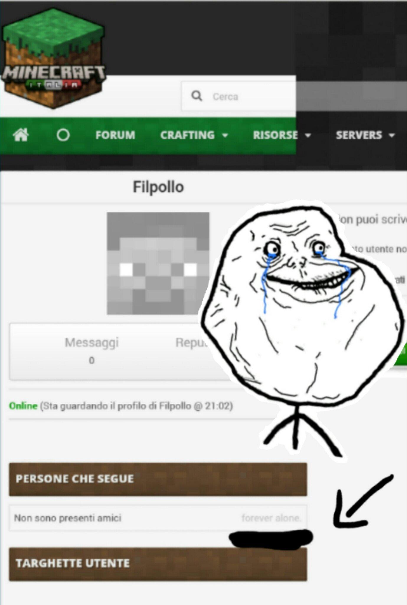 ForeverAlone....  Anche su Minecraft - meme