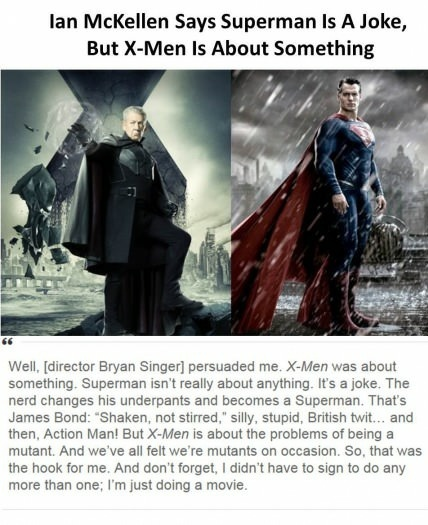 Because Superman totally isn't about a man who gives his life to protect random innocent people - meme