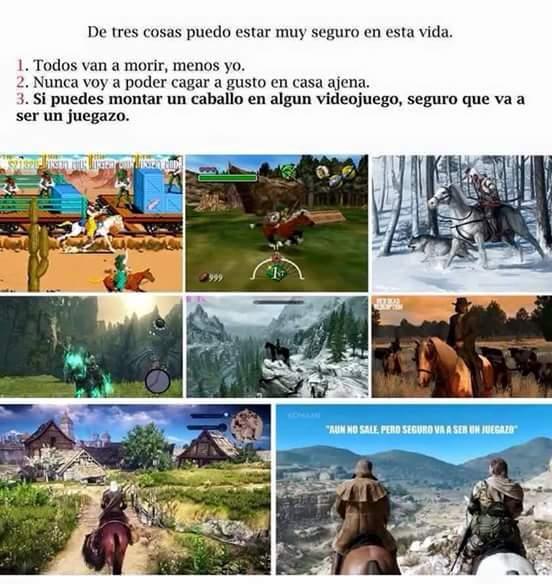 Cuando hay un caballo en un juego es que va ser muy epico - meme