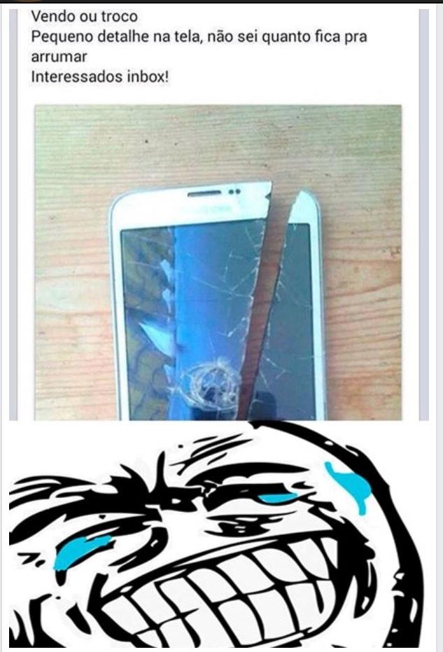 O título quer vender esse celular, só tem esse pequeno detalhe... - meme