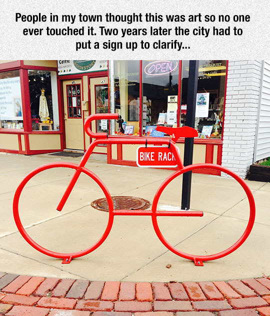 Misunderstood bike rack - meme