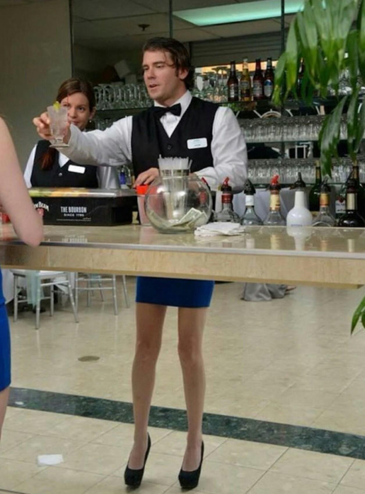Mmhh, I didn't know bartenders have nice legs like mine.. - meme