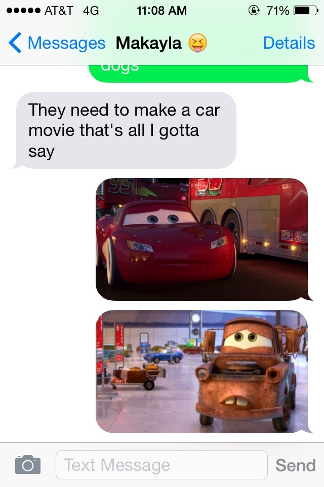 She said they needed to make a talking car movie... - meme